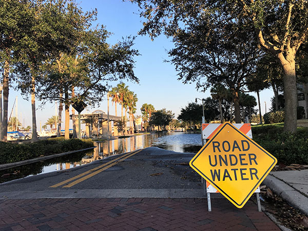 After hurricane Irma made its way through Florida on Sept. 10 and 11, many roads, including this street in Sanford remained flooded.