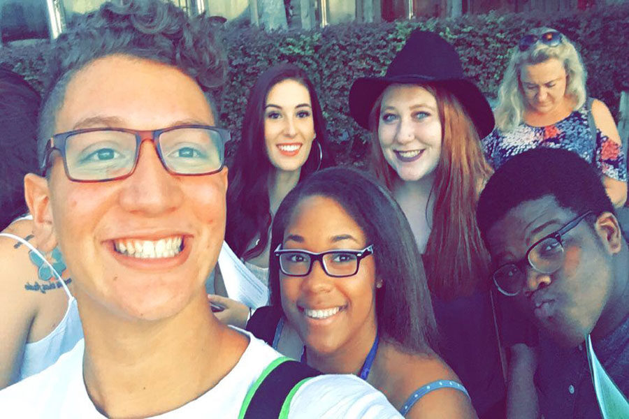 "Juniors Fernando Garcia (left) and Takiya Williams (bottom middle) take a selfie with new friends they bonded with while waiting to audition for the ABC television show, ""American Idol"" on August 17 at Disney Springs at Walt Disney World Resort in Lake Buena Vista, Florida"