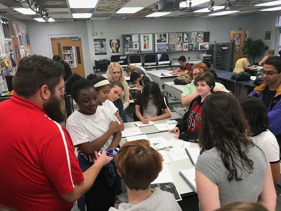 Photography teacher Alex Garver collected the students Inktober pieces during the meeting on Friday, Oct.6 and captured a photograph of them for the Lake Brantley fine arts instagram. Garver actively posted student works from different prompts of the inktober list throughout the month.