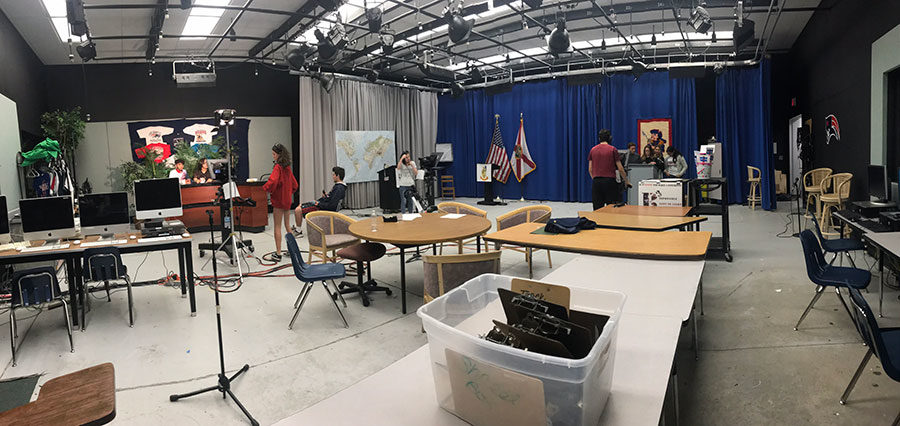 A+panoramic+shot+of+the+television+production+studio+at+the+start+of+the+morning+live+show.+The+anchors+are+sitting+patiently+waiting+for+their+cues+to+know+when+they+can+start+to+talk.
