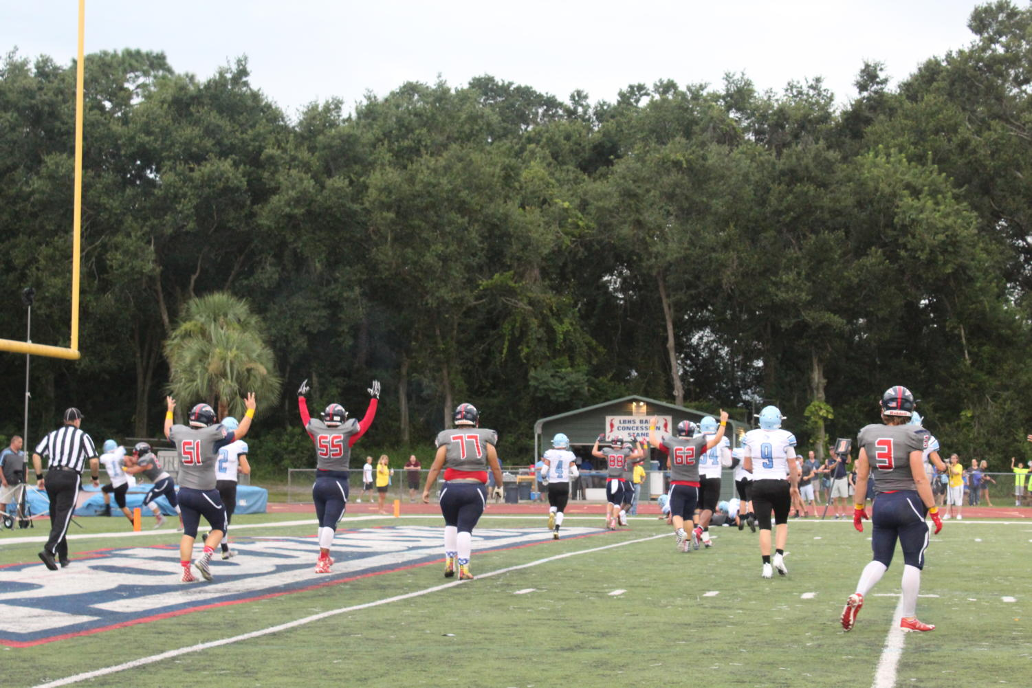 On Friday, August 24th, the Lake Brantley Varsity Football Team scores a touchdown against the Hagerty Huskies. The Patriots won the game at Tom Storey Field, 35-17.