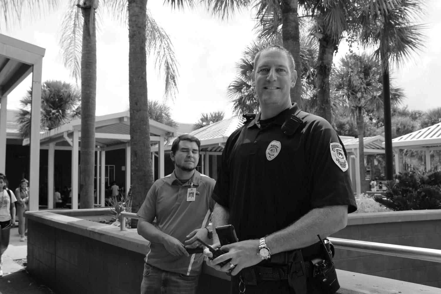 Officer Robert Shapiro monitors both lunches everyday. He also patrols campus between and during classes.