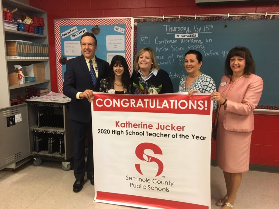 Katherine+Jucker+receives+recognition+as+a+Seminole+County+high+school+semifinalist+for+Teacher+of+the+Year.+Representatives+from+the+county+rewarded+her+for+her+hard+work+and+commitment.+