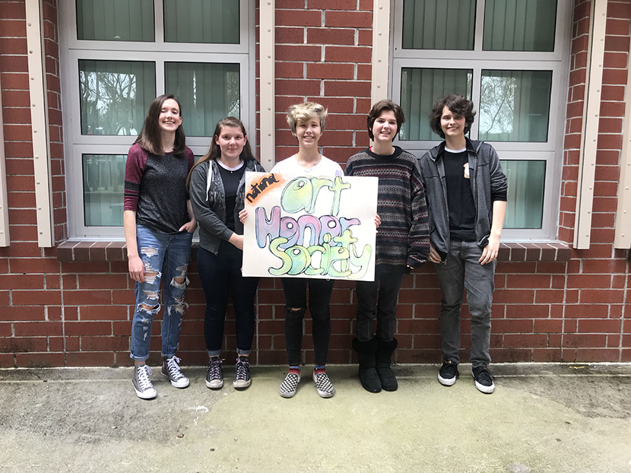 Seniors Cara Crawford, Devyn Nance, Madeline Wheaton, Emily Woods, and August Esbjorn-Witt are the 2018-2019 officers for the Art Honors Society.