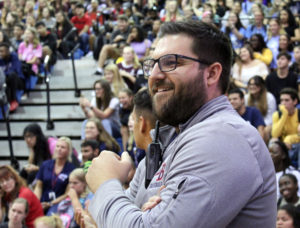 Principal Brian Blasewitz attends his first pep rally on August 23.  As the football season kicks off so does his career as the new principal at Lake Brantley.
