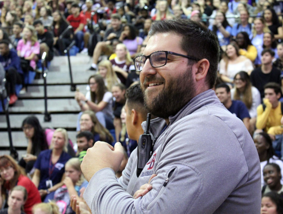 Principal+Brian+Blasewitz+attends+his+first+pep+rally+on+August+23.++As+the+football+season+kicks+off+so+does+his+career+as+the+new+principal+at+Lake+Brantley.