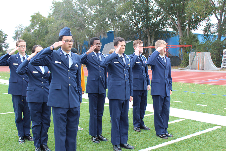 On Wednesday, Jan. 22, JROTC cadets practice commands during drill practice.