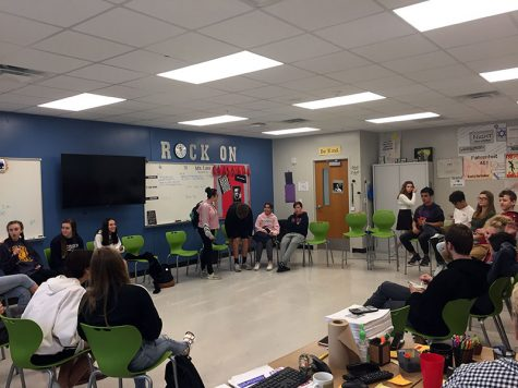 "Students in Peggy Leis's 7th period English Honors class prepare for community circle.  ""It gives me great feedback about what their learning and also what their needs are,"" Leis said. ""It gives me an idea of how I can reach them better""."