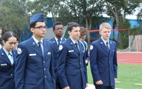 ROTC cadets, Brian Garay, Dylan Hutton and Stephen Mackenzie are seen practicing commends on the field during a drill practice on Wednesday, Jan. 22.