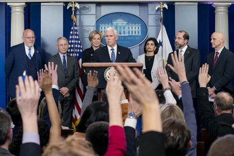 Vice President Mike Pence holds a press conference with Secretary of Health and Human Services Alex Azar and the White House Coronavirus Response Coordinator Deborah Birx Monday, March 2, 2020, in the White House Press Briefing Room.