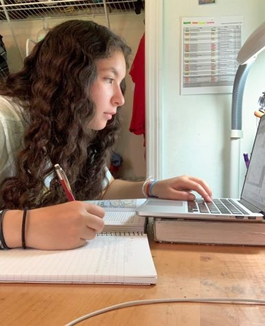 "On Aug. 18, sophomore Maya Silver works on her AP World History class. ""Learning online is different from in school in the sense that there aren't many opportunities to socialize with other people,"" Silver said. ""Some teachers let us go in the chat, but it's not the same as being able to talk to your friends in person."""