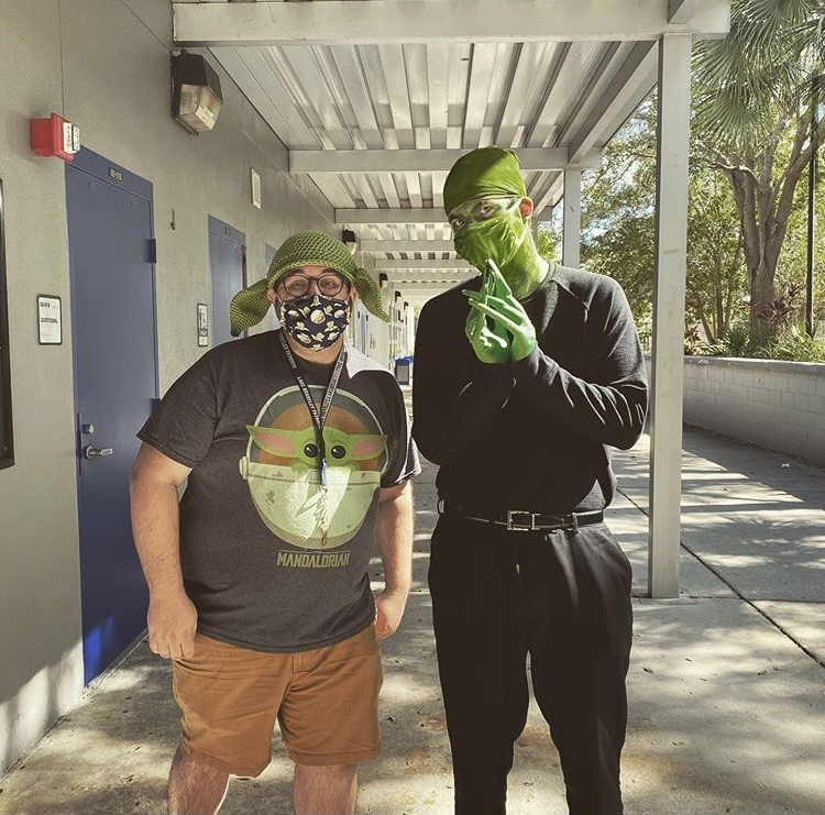 "Chorus teacher Nicholas Powers and drama teacher Chase Cashion show school spirit by dressing up for ""Spaced Out!"" day.  Powers and Cashion are a staple on campus when it comes to school spirit days, consistently wearing over the top costumes and usually coordinating."