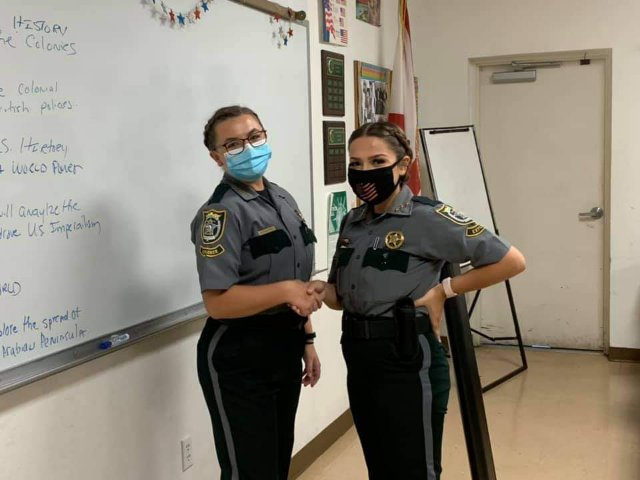 """Sophomore Rose Gardner is a member of the Police Explorers Program and currently holds the position of captain. """"We are representing the sheriff's office when we go out, like we're in uniforms that you could honestly mistake for real law enforcement.,"""" Gardner said. """"So, when we're out there we have to make sure that we're upholding the name for the sheriff's office. Because there are so many people around this world that really bring a bad rap to law enforcement's name. And so, when we're out there dealing with people who are really, really frustrated or really angry, you have to be able to control yourself and de-escalate the situation. So, I think that has definitely benefited me working in the community and throughout the post."""""""