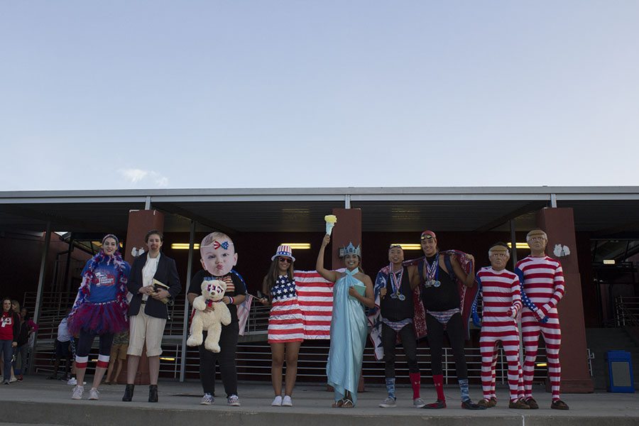 The finalists for the costume competition show off their outfits to be judged in the Amphitheater for Freedom Thursday during Homecoming week. The winner is determined by the amount of applause received from the audience for each contestant or group costume.
