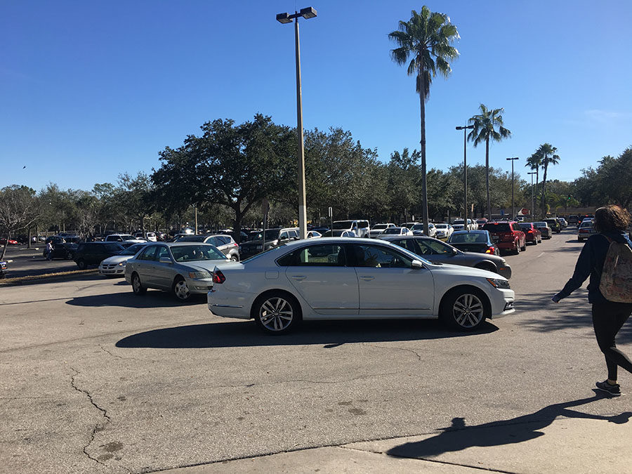 After school, students that drive to school and parents that pick up students merge into the same line to exit Lake Brantley's parking lot. This area becomes easily congested and often takes students over 15 minutes just to get off of school campus.