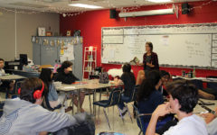 Annie Hall's 9th Grade English class in Building 8.