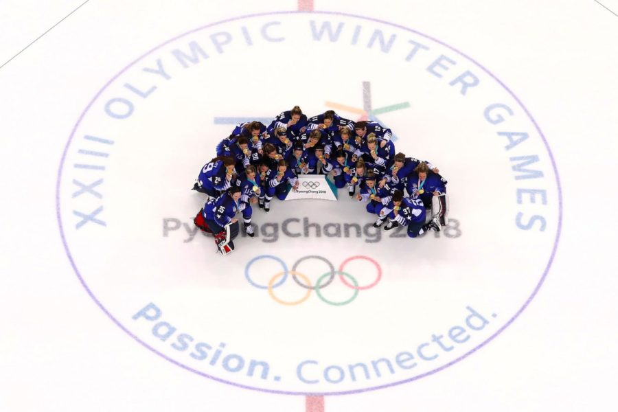 Team United States of America (gold) poses after defeating Team Canada (silver) 3-2 in the Womens Ice Hockey Gold Medal game on day 13 of the PyeongChang 2018 Winter Olympic Games at Kwandong Hockey Centre on February 22, 2018 in Gangneung, Republic of Korea. GettyImages