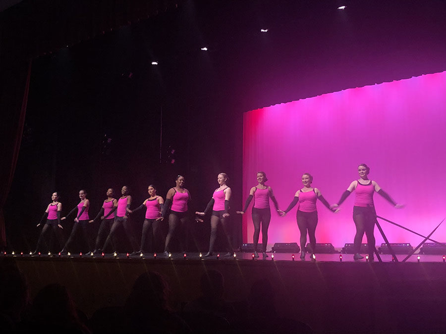 """Senior Sparklers perform a routine to """"Free to Dance"""" during the Spring Dance Show on May 10. This was their last Brantley dance show for the school year."""