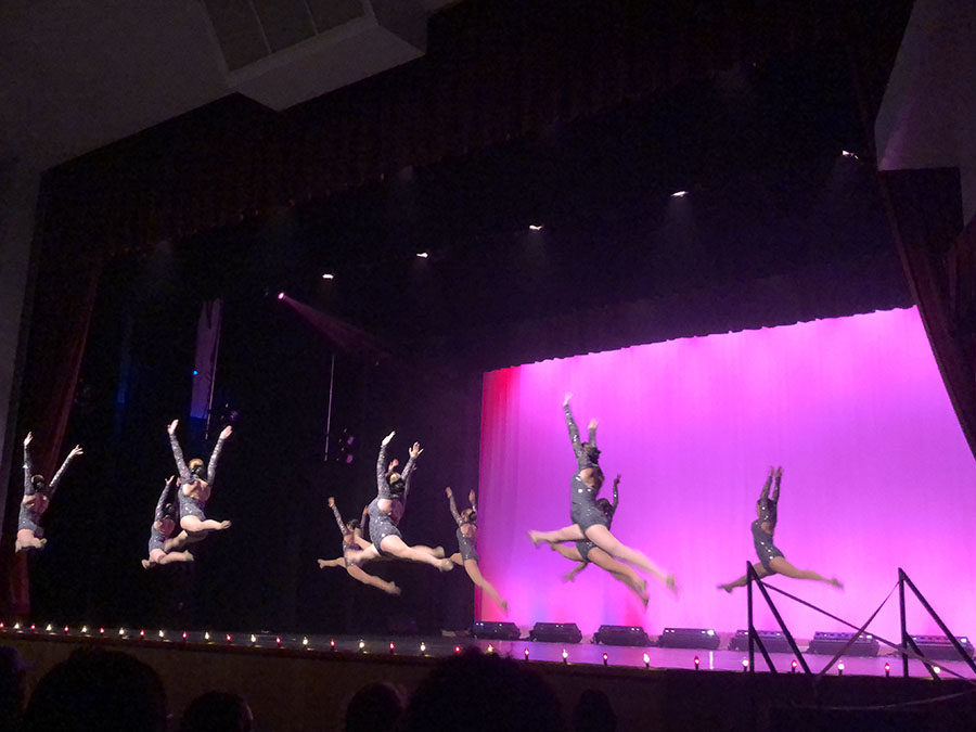 """The Starlets dance to """"Painting Greys"""" during the Spring Dance Show on May 10. """"My favorite part is just being able to hang out with everybody and have such a good time and know that everybody is really trying their best,"""" sophomore and Starlet Veronica Calderon said."""