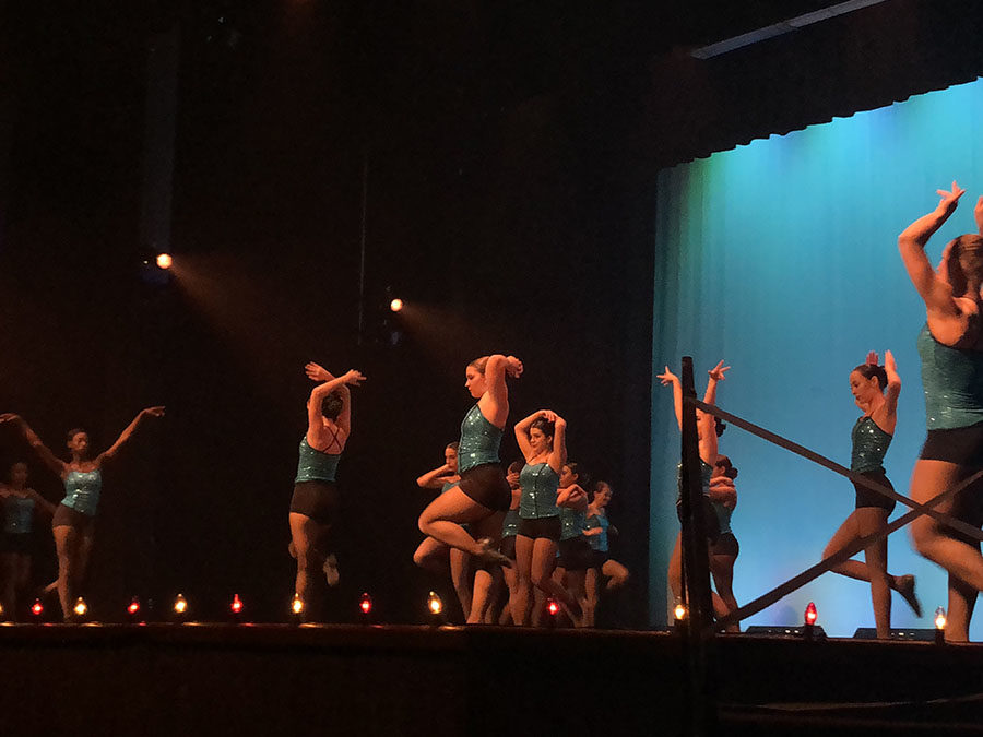 """Dance 3,4, and 5 performs to the song """"Feeling Good"""" on May 10 at the Spring Dance Show. This seasons dance show was the last in the Cynthia Berry Auditorium before the remodel."""