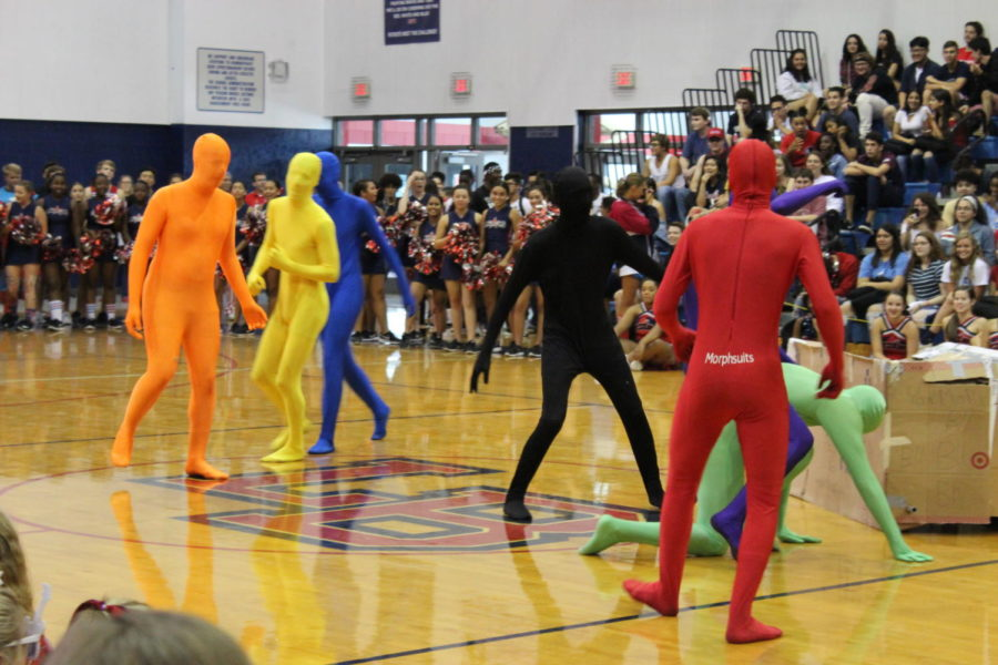 The+Brantley+Boys+dance+to+a+variety+of+songs+throughout+their+performance+during+the+Sept.+21+homecoming+pep+rally.+The+Leadership+class+plans+multiple+pep+rallies+throughout+the+school+year+to+enhance+school+pride.