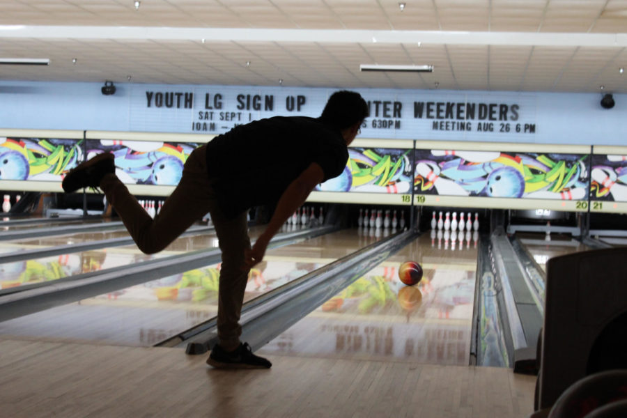 Senior Austin Ray shows off his proper bowling technique at the bowling tournament on Monday, August 27 at the Oviedo Lanes. For the first round, Brantley was in a lane rights next to Lyman.