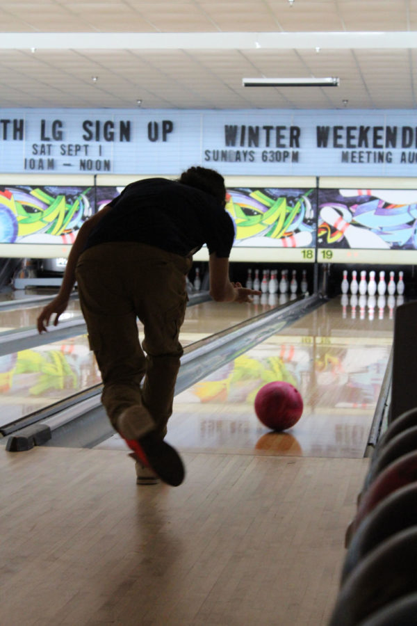 A Brantley bowler releases the bowling ball down the lane at Oviedo Lanes on Monday, August 27. Five students represented Brantley for this tournament.