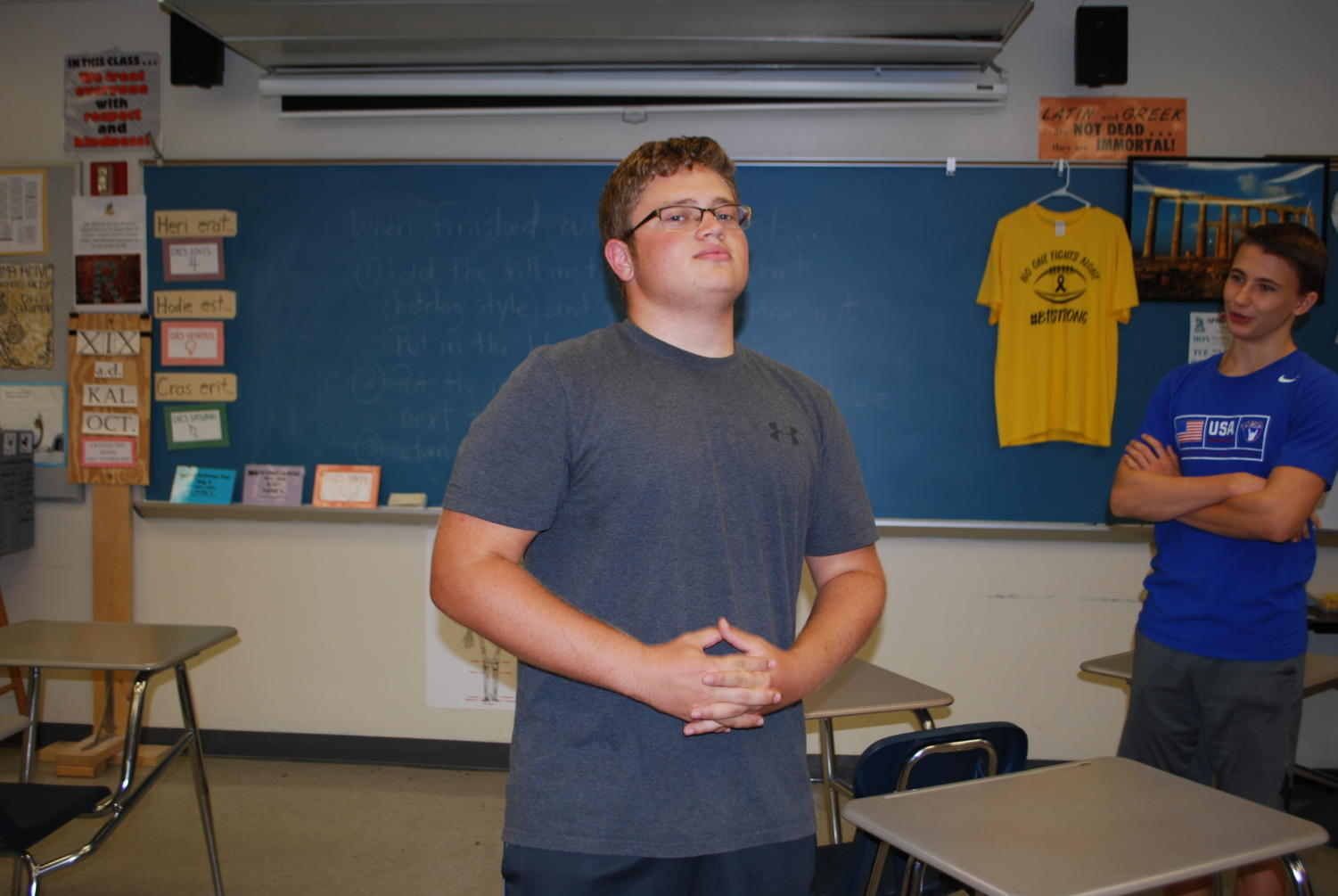 On Sep. 19, junior Aiden Stein goofs around in his Latin 3 class. The class is all about ancient history, so they don't shy away from silliness.