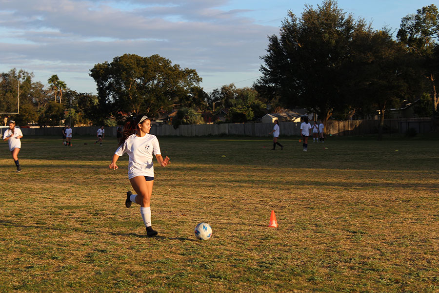 The girls varsity soccer team practices at Brantley South after school on Jan 22. The team won 10 out of their 15 games this season, making them eligible to move on to the district tournament.