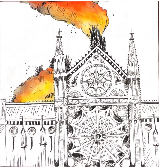 Drawing+of+the+Notre+Dame+Cathedral+as+it+burst+into+flames.