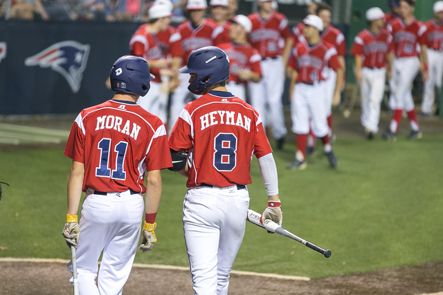Sophomores Landon Moran and Luke Heyman talk before an at-bat. Both Landon and Luke verbally committed to play baseball for the University of Florida in Dec. of their freshman years.