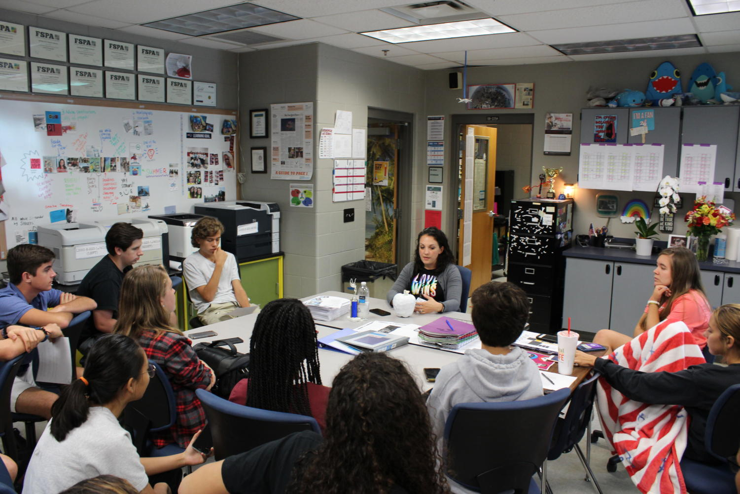 Yearbook and Newspaper adviser Katie Turkelson participates in a press conference run by her newspaper staff. She explained her teaching methods and how she creates a safe space in her classroom.