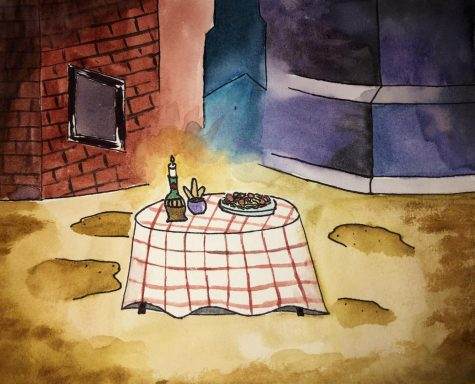 Drawing of the spaghetti dinner scene from Lady and the Tramp.