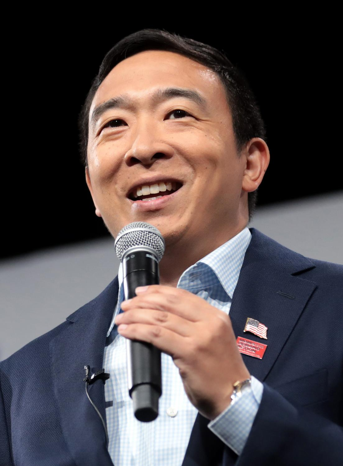Andrew Yang speaking in Des Moines, Iowa.