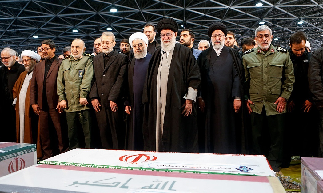 Iranian Supreme Leader Ayatollah Khamenei and other Iranian leaders at the funeral of Quasem Soleimani on Jan. 6.