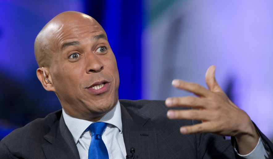 Democratic+presidential+candidate+Cory+Booker+speaks+during+a+climate+change+panel+on+Sept.+20.