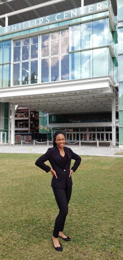 "Junior Amilyah Robinson poses outside of the Dr. Phillips Center for Performing Arts. Robinson played for ""Peter in the Wolf"" in 2018."
