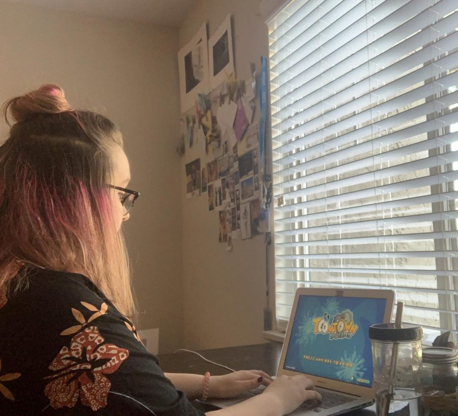 Senior Cara Roth has spent some of her free time at home to reminisce on childhood memories playing online games like Toontown Rewritten with her friends. In doing this and similar activities, she has realized that the memories she will have forever hold more value than the events that have been postponed.