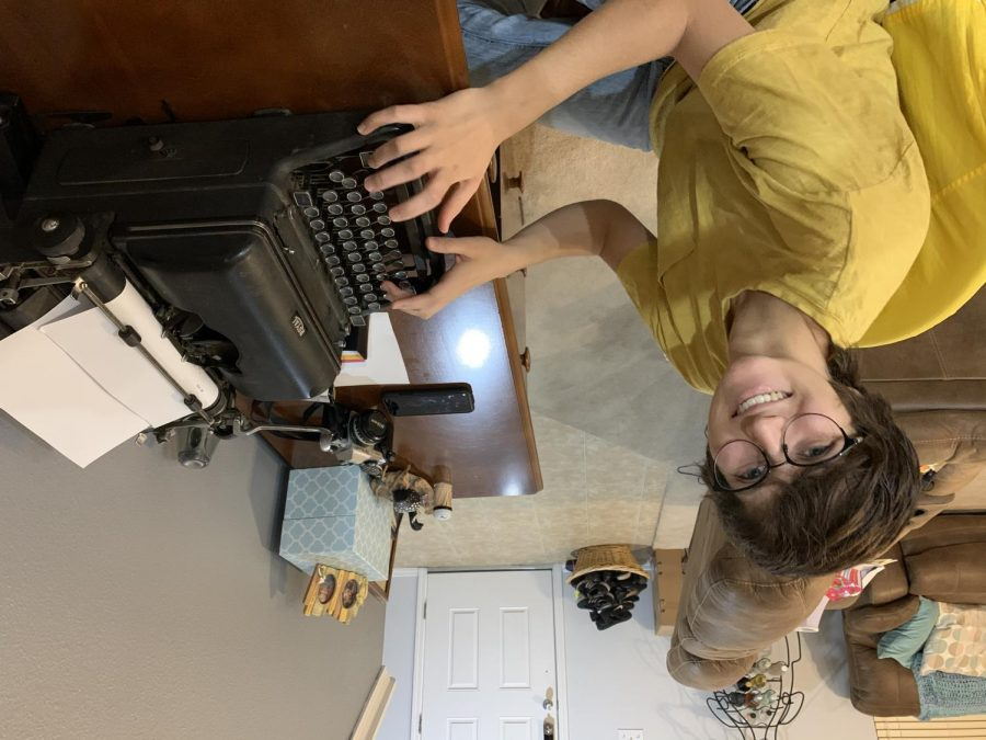 On April 3, Senior Joelle Wittig tries out her typewriter as she works to fix it up.