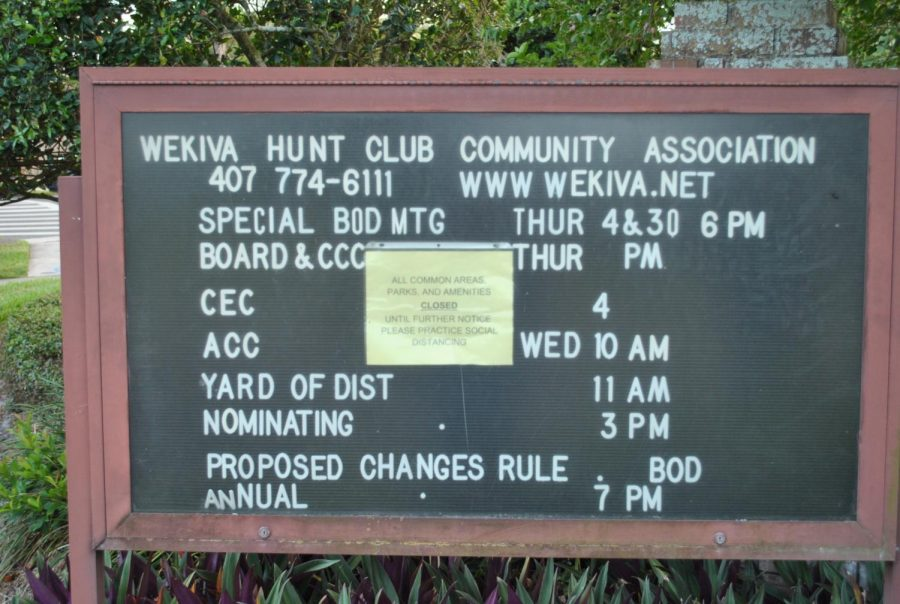 A+public+events+notice+board+for+the+Wekiva+Hunt+Club+Community+Association+notifies+residents+that+public+areas+are+closed+until+further+notice+on+May+13.