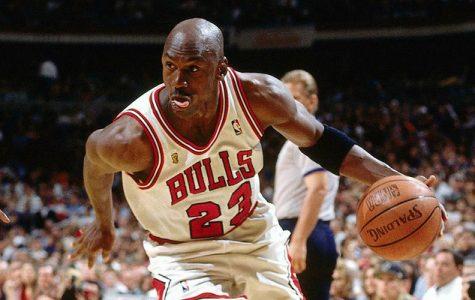 Michael Jordan dribbles the basketball during his playing days.