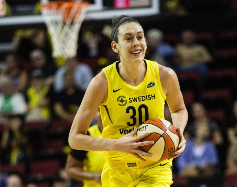 Seattle Storm player Breanna Stewart smiles during her game against the Dallas Wings on Aug. 19, 2018. Before 2020, this was one of the last WNBA games she participated in, due to the injury she sustained while playing in Russia in 2019.