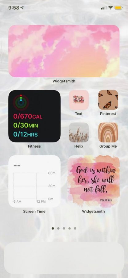 "Freshman Shaley Wacker has utilized the widgets and shortcuts app to customize her home screen to be themed. Many students have done this as well, most striving for the 'aesthetically pleasing' lifestyle that so many now go for. ""I've gone with a theme of adding multiple colors for each page,"" Wacker said. ""I've added lavender, teal, yellow, pink, and more""."