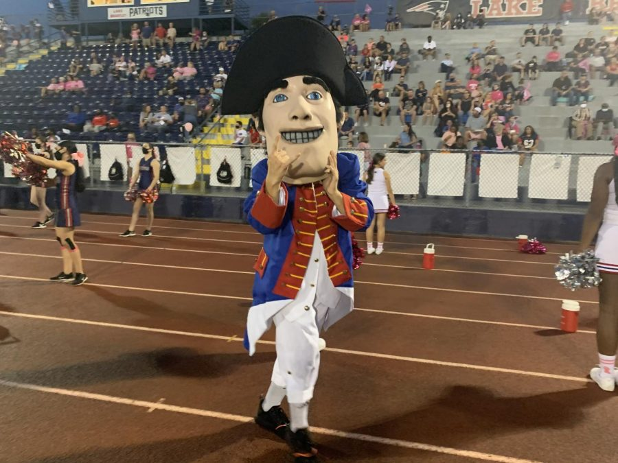 During the October pink out game, Patriot Pete shows his true spirit. He came through with the hype to bring to crowd alive while our football players won against West orange 28 to 21
