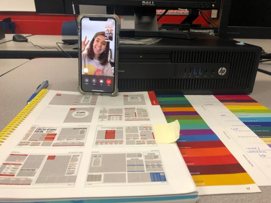 On Friday, Sept. 18 Seminole Connect junior Student Life Editor Andrea Sumner video calls with sophomore staff member Kylie Johnson. They collaborate on ideas for their yearbook pages while Yearbook Advisor Katherine Turkelson looks on. Since Sumner is a Seminole Connect student, individual video calls are the easiest way for her to communicate with classmates in school.