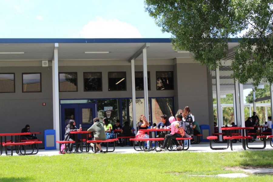 Students like senior Maddie Watts enjoy B lunch, the new middle lunch created to space students out during COVID-19, at the back of the cafeteria.
