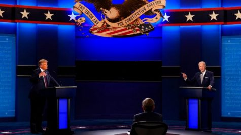 President Donald Trump, left, moderator Chris Wallace, center, and Democratic presidential candidate former Vice President Joe Biden, right, during the first presidential debate of the election season. According to slate.com, there were over 100 interruptions during the 90 minute match.