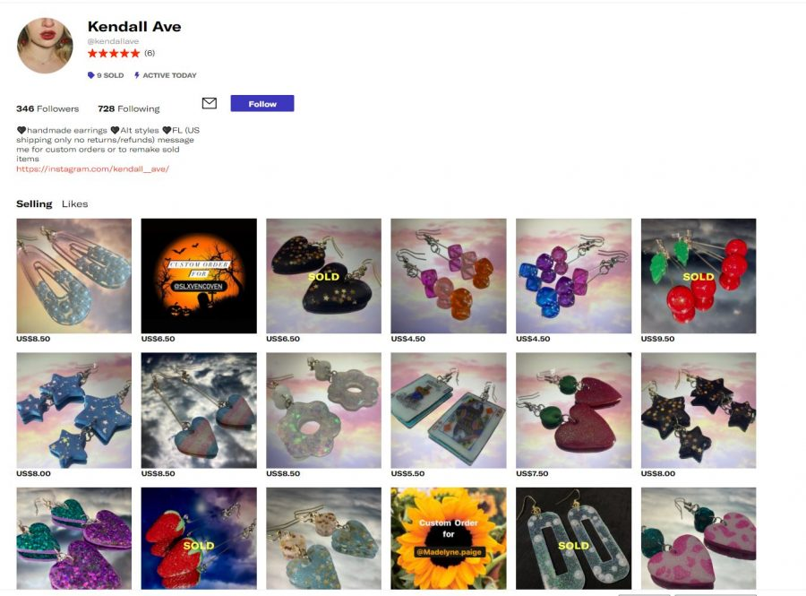 Featured here is Kendall's Depop, the platform on which she sells her earrings. As of September 22 she features all these earrings for sale to the public,  with custom orders available.