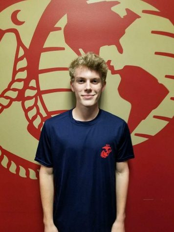 Senior Ethan Jorgensen poses for his official picture as a Poole. Ethan is registered to begin training for the marines but has yet to start the 13 week training.