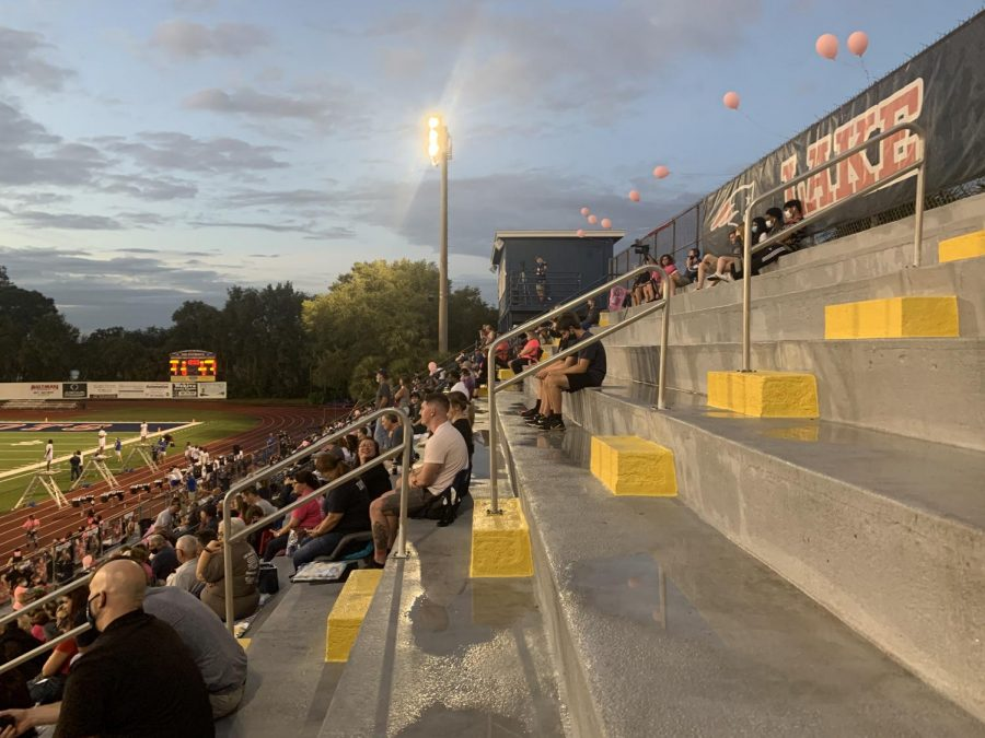Many students, parents and fans packed the stands at Tom Storey Field. Masks and social distancing were not enforced, but safety was practiced modestly throughout the limited space.